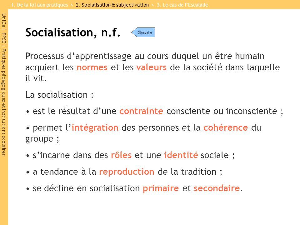 UniGe | FPSE | Pratiques pédagogiques et institutions scolaires Socialisation, n.f.