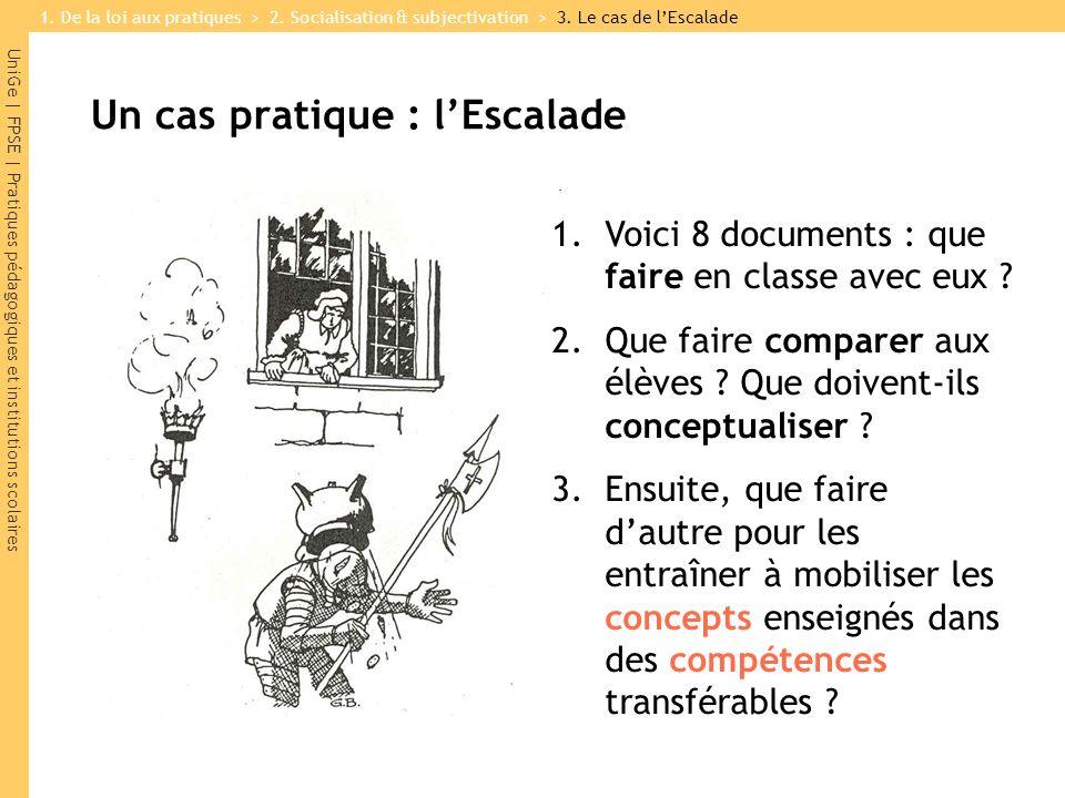 UniGe | FPSE | Pratiques pédagogiques et institutions scolaires Un cas pratique : lEscalade 1.Voici 8 documents : que faire en classe avec eux ? 2.Que