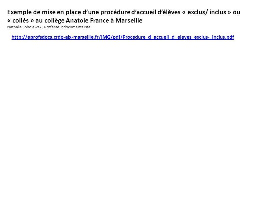 Exemple de mise en place dune procédure daccueil délèves « exclus/ inclus » ou « collés » au collège Anatole France à Marseille Nathalie Sobolewski, Professeur documentaliste http://eprofsdocs.crdp-aix-marseille.fr/IMG/pdf/Procedure_d_accueil_d_eleves_exclus-_inclus.pdf