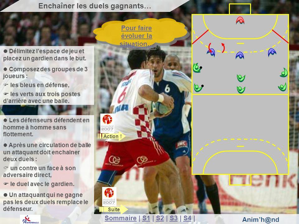 Animh@nd Délimitez lespace de jeu et placez un gardien dans le but. Composez des groupes de 3 joueurs : les bleus en défense, les verts aux trois post