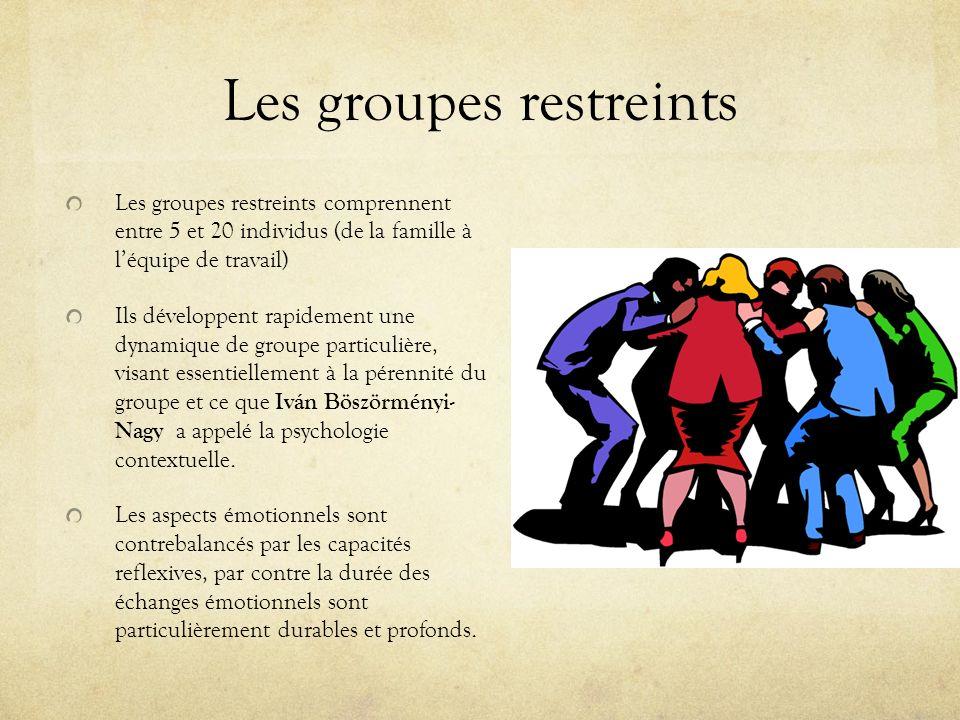 Les groupes restreints Les groupes restreints comprennent entre 5 et 20 individus (de la famille à léquipe de travail) Ils développent rapidement une