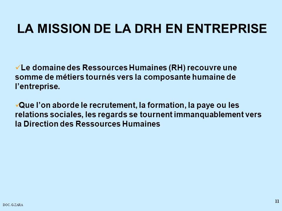 DOC. G.ZARA 11 LA MISSION DE LA DRH EN ENTREPRISE Le domaine des Ressources Humaines (RH) recouvre une somme de métiers tournés vers la composante hum