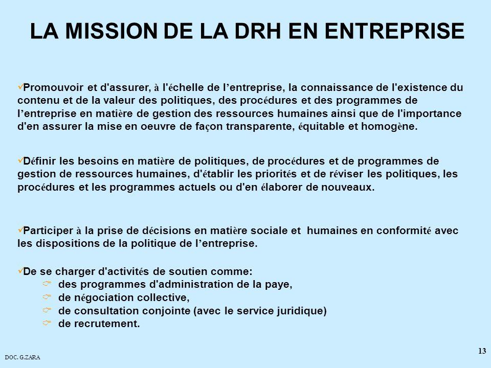 DOC. G.ZARA 13 LA MISSION DE LA DRH EN ENTREPRISE Promouvoir et d'assurer, à l' é chelle de l entreprise, la connaissance de l'existence du contenu et
