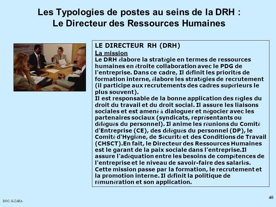 DOC. G.ZARA 40 LE DIRECTEUR RH (DRH) L a mission Le DRH é labore la strat é gie en termes de ressources humaines en é troite collaboration avec le PDG