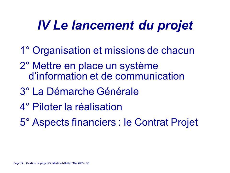 Page 12 / Gestion de projet / V. Martinot-Buffet / Mai 2005 / D3 IV Le lancement du projet 1° Organisation et missions de chacun 2° Mettre en place un