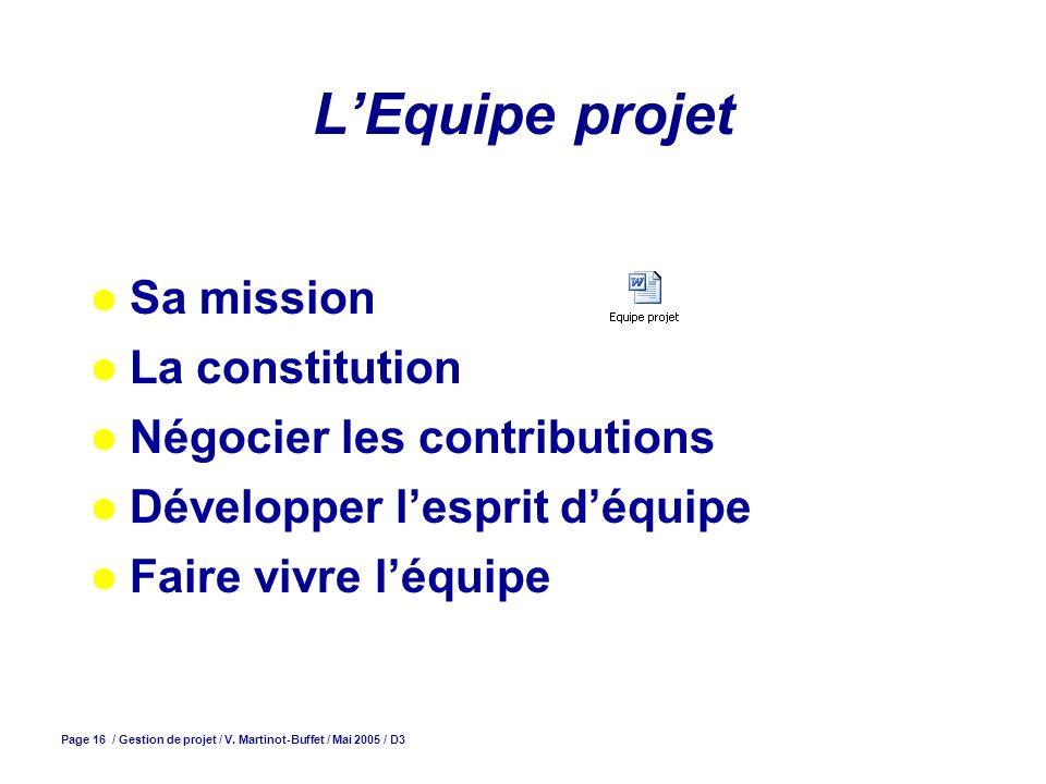 Page 16 / Gestion de projet / V. Martinot-Buffet / Mai 2005 / D3 LEquipe projet Sa mission La constitution Négocier les contributions Développer lespr