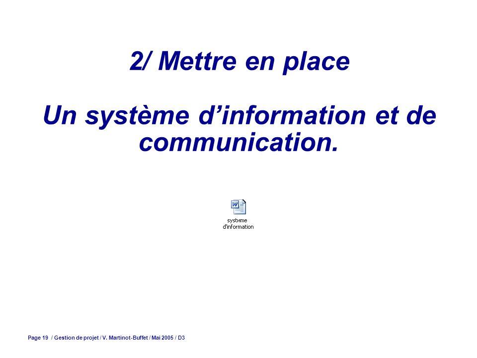 Page 19 / Gestion de projet / V. Martinot-Buffet / Mai 2005 / D3 2/ Mettre en place Un système dinformation et de communication.