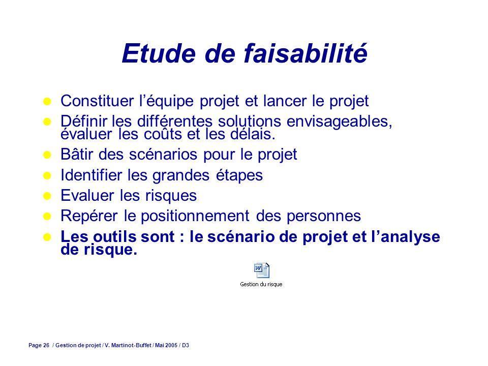 Page 26 / Gestion de projet / V. Martinot-Buffet / Mai 2005 / D3 Etude de faisabilité Constituer léquipe projet et lancer le projet Définir les différ