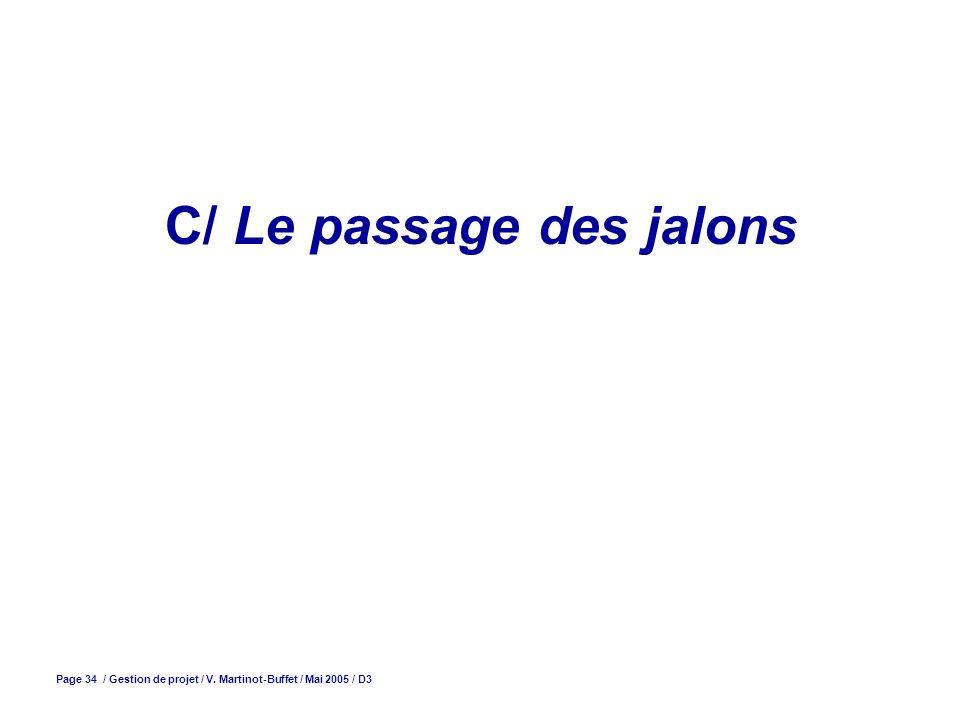 Page 34 / Gestion de projet / V. Martinot-Buffet / Mai 2005 / D3 C/ Le passage des jalons