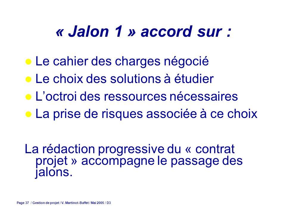 Page 37 / Gestion de projet / V. Martinot-Buffet / Mai 2005 / D3 « Jalon 1 » accord sur : Le cahier des charges négocié Le choix des solutions à étudi
