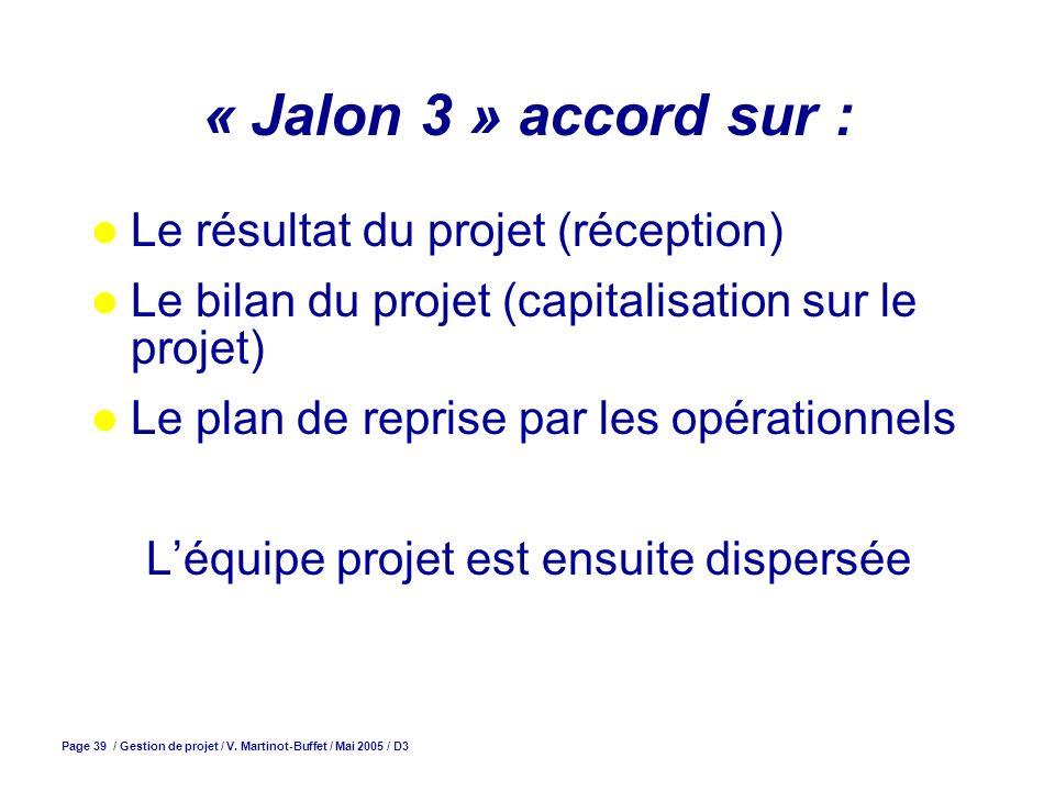 Page 39 / Gestion de projet / V. Martinot-Buffet / Mai 2005 / D3 « Jalon 3 » accord sur : Le résultat du projet (réception) Le bilan du projet (capita