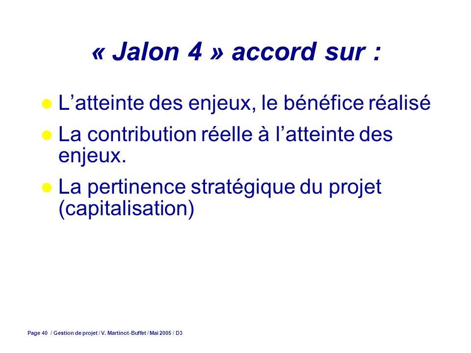 Page 40 / Gestion de projet / V. Martinot-Buffet / Mai 2005 / D3 « Jalon 4 » accord sur : Latteinte des enjeux, le bénéfice réalisé La contribution ré