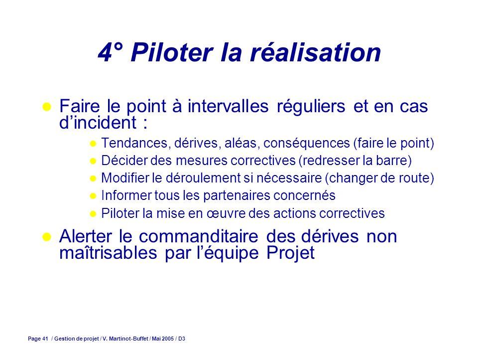 Page 41 / Gestion de projet / V. Martinot-Buffet / Mai 2005 / D3 4° Piloter la réalisation Faire le point à intervalles réguliers et en cas dincident