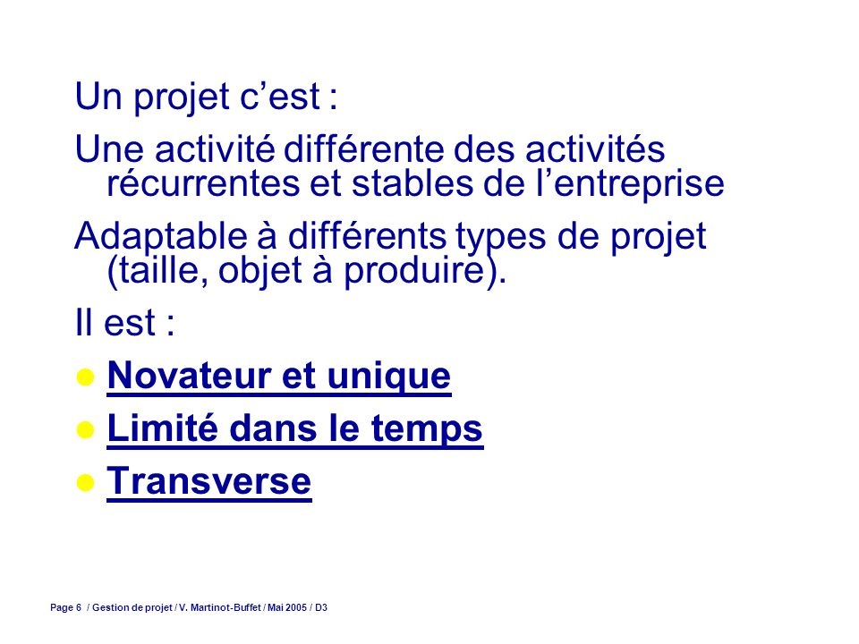 Page 7 / Gestion de projet / V.