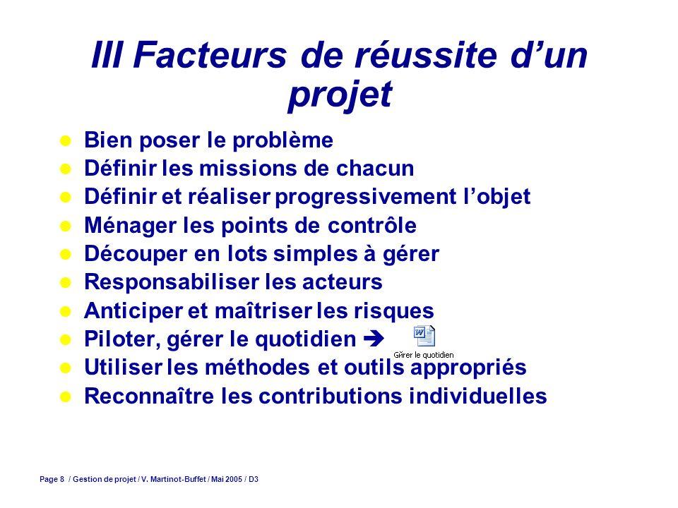 Page 8 / Gestion de projet / V. Martinot-Buffet / Mai 2005 / D3 III Facteurs de réussite dun projet Bien poser le problème Définir les missions de cha