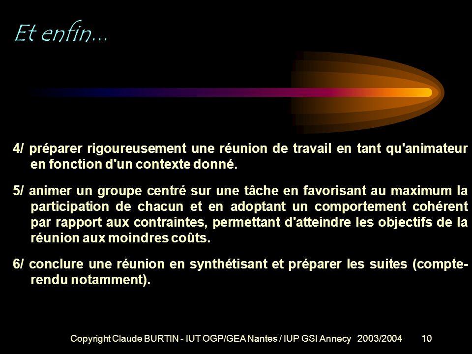 Copyright Claude BURTIN - IUT OGP/GEA Nantes / IUP GSI Annecy 2003/20049 OBJECTIFS DE CETTE INITIATION A l'issue de cette période de formation vous de