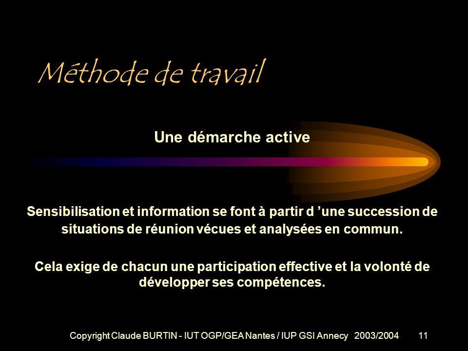 Copyright Claude BURTIN - IUT OGP/GEA Nantes / IUP GSI Annecy 2003/200410 Et enfin... 4/ préparer rigoureusement une réunion de travail en tant qu'ani