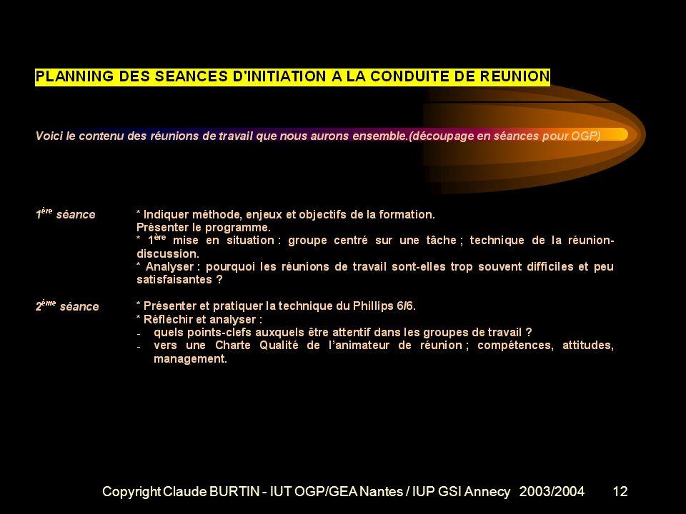 Copyright Claude BURTIN - IUT OGP/GEA Nantes / IUP GSI Annecy 2003/200411 Méthode de travail Une démarche active Sensibilisation et information se fon