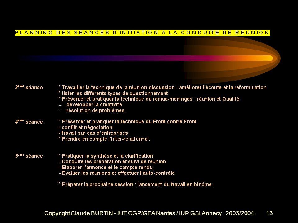 Copyright Claude BURTIN - IUT OGP/GEA Nantes / IUP GSI Annecy 2003/200412