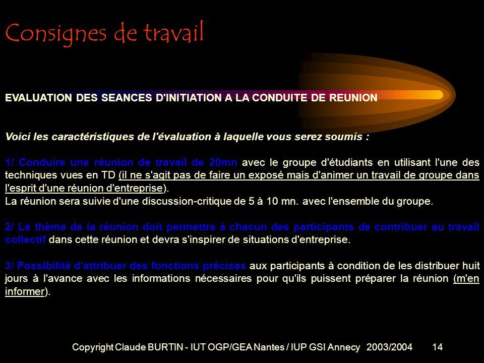 Copyright Claude BURTIN - IUT OGP/GEA Nantes / IUP GSI Annecy 2003/200413