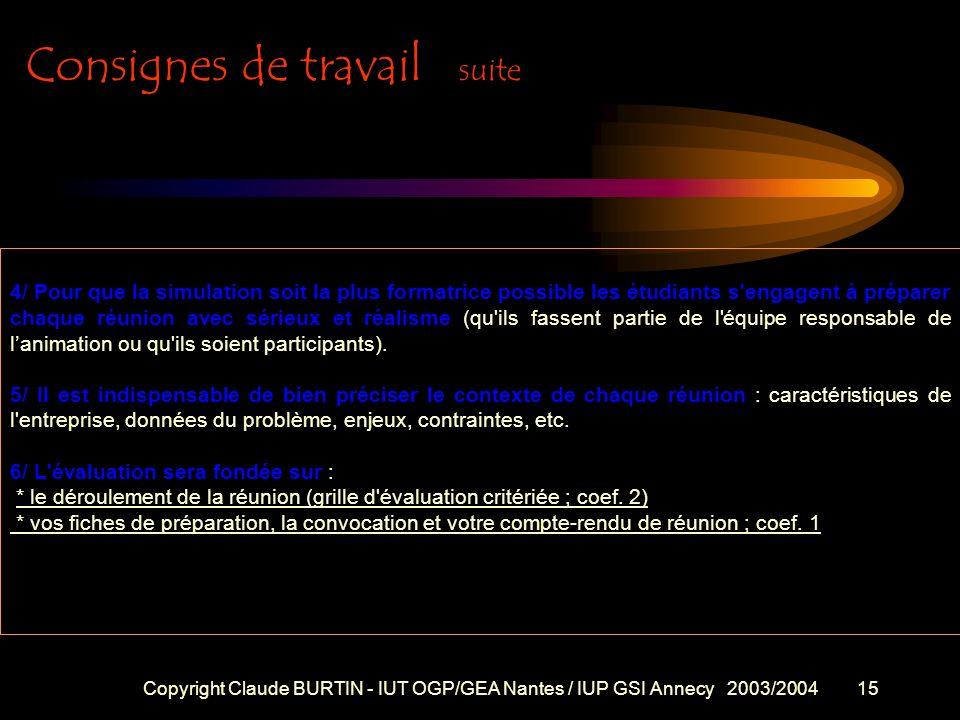 Copyright Claude BURTIN - IUT OGP/GEA Nantes / IUP GSI Annecy 2003/200414 Consignes de travail EVALUATION DES SEANCES D'INITIATION A LA CONDUITE DE RE