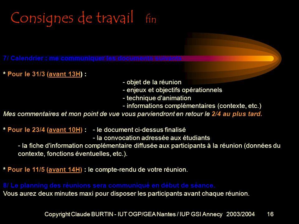 Copyright Claude BURTIN - IUT OGP/GEA Nantes / IUP GSI Annecy 2003/200415 4/ Pour que la simulation soit la plus formatrice possible les étudiants s'e