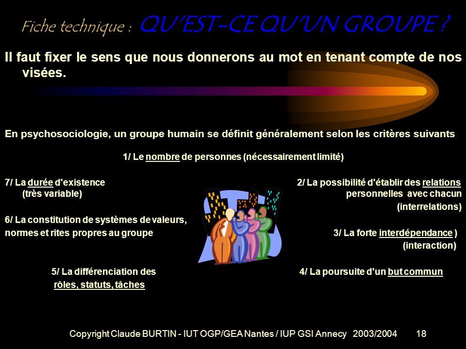 Copyright Claude BURTIN - IUT OGP/GEA Nantes / IUP GSI Annecy 2003/200417 Contact A distance nous communiquerons par courriel Mon adresse : Pensez à :