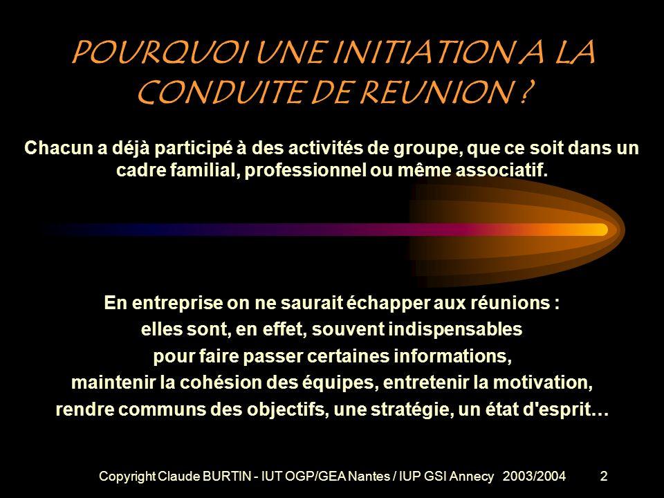 Copyright Claude BURTIN - IUT OGP/GEA Nantes / IUP GSI Annecy 2003/20041 1 + 1 = 3 Etre performants ensemble LES REUNIONS DE TRAVAIL