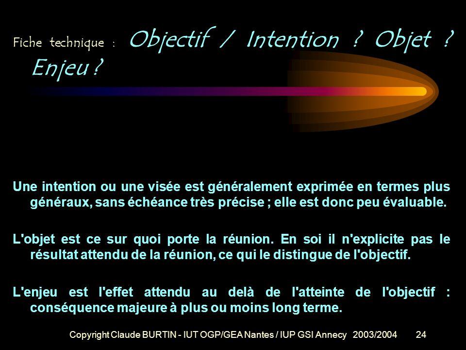 Copyright Claude BURTIN - IUT OGP/GEA Nantes / IUP GSI Annecy 2003/200423 Fiche technique : LA NOTION D'OBJECTIF OPERATIONNEL Un objectif opérationnel