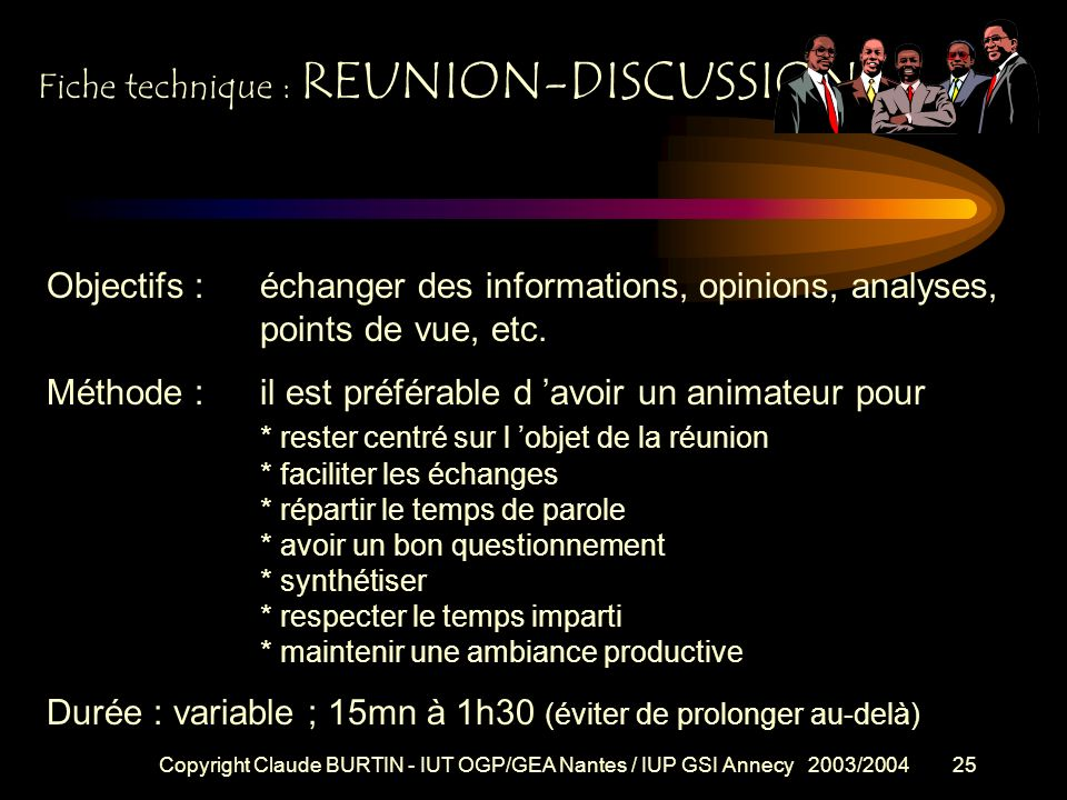 Copyright Claude BURTIN - IUT OGP/GEA Nantes / IUP GSI Annecy 2003/200424 Fiche technique : Objectif / Intention .