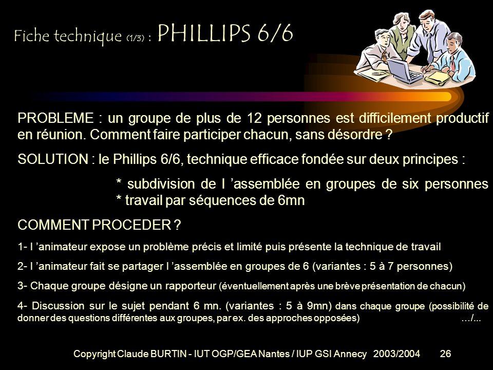 Copyright Claude BURTIN - IUT OGP/GEA Nantes / IUP GSI Annecy 2003/200425 Fiche technique : REUNION-DISCUSSION Objectifs : échanger des informations,
