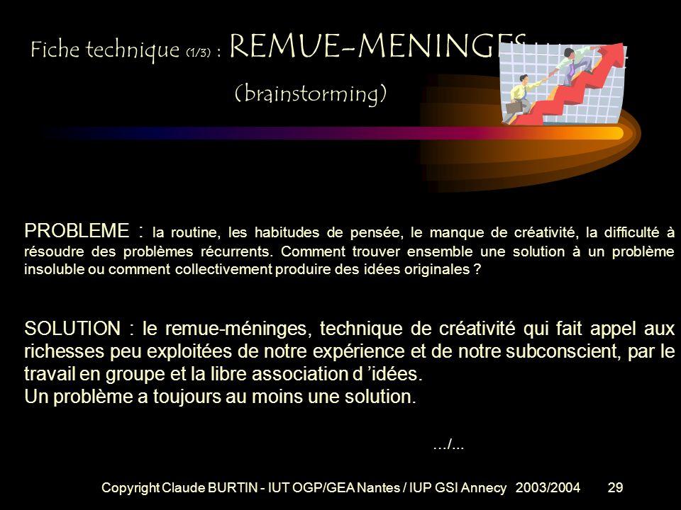 Copyright Claude BURTIN - IUT OGP/GEA Nantes / IUP GSI Annecy 2003/200428 AVANTAGES : * participation ordonnée et rapide de la totalité des membres *