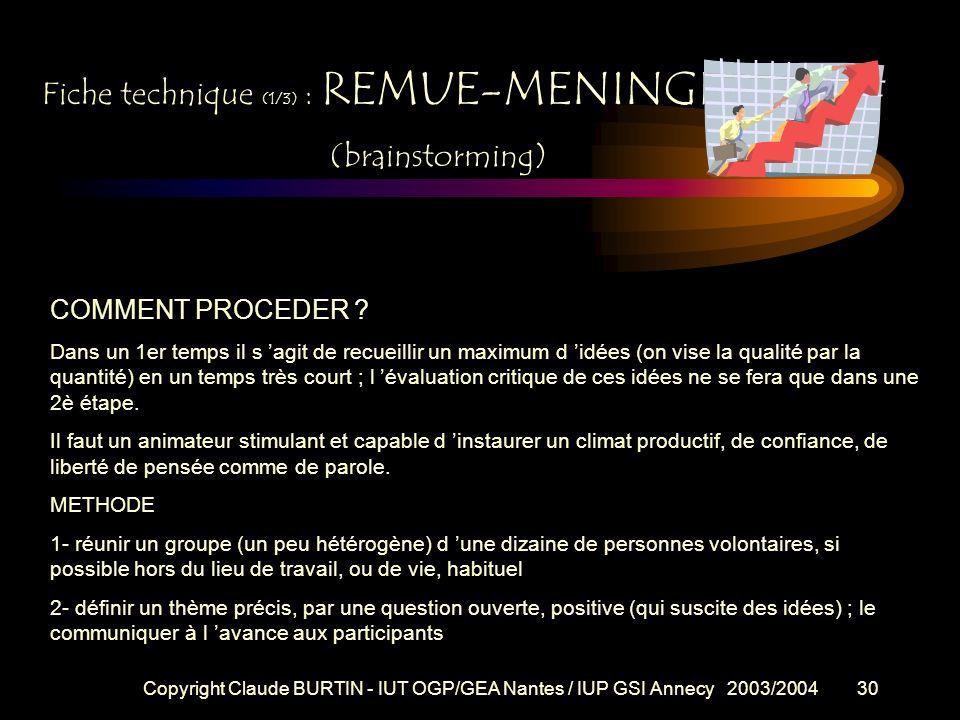 Copyright Claude BURTIN - IUT OGP/GEA Nantes / IUP GSI Annecy 2003/200429 Fiche technique (1/3) : REMUE-MENINGES (brainstorming) PROBLEME : la routine