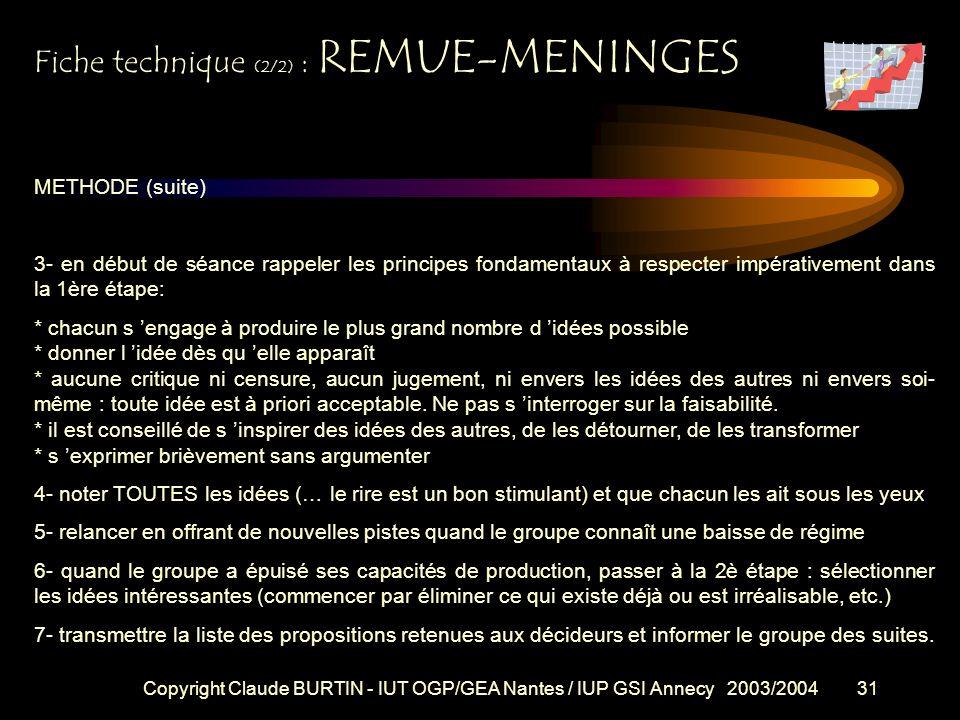Copyright Claude BURTIN - IUT OGP/GEA Nantes / IUP GSI Annecy 2003/200430 COMMENT PROCEDER ? Dans un 1er temps il s agit de recueillir un maximum d id