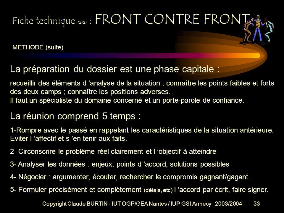 Copyright Claude BURTIN - IUT OGP/GEA Nantes / IUP GSI Annecy 2003/200432 Fiche technique (1/2) : FRONT CONTRE FRONT Objectifs : anticiper ou résoudre
