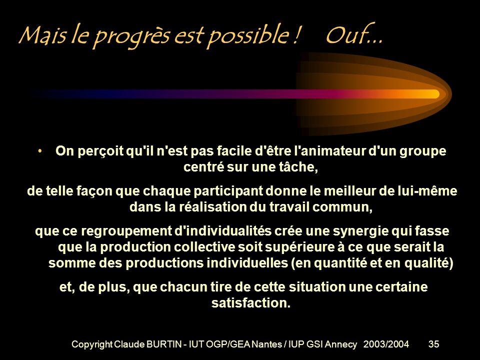 Copyright Claude BURTIN - IUT OGP/GEA Nantes / IUP GSI Annecy 2003/200434 comment faire… ? * clarifier l'objet et les circonstances opportuns pour se