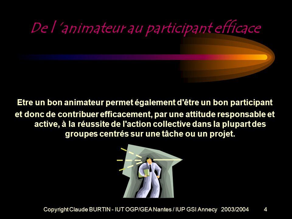 Copyright Claude BURTIN - IUT OGP/GEA Nantes / IUP GSI Annecy 2003/200424 Fiche technique : Objectif / Intention .