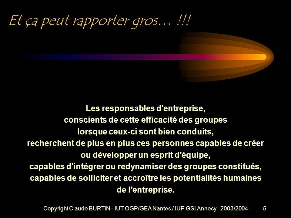 Copyright Claude BURTIN - IUT OGP/GEA Nantes / IUP GSI Annecy 2003/20044 De l animateur au participant efficace Etre un bon animateur permet également