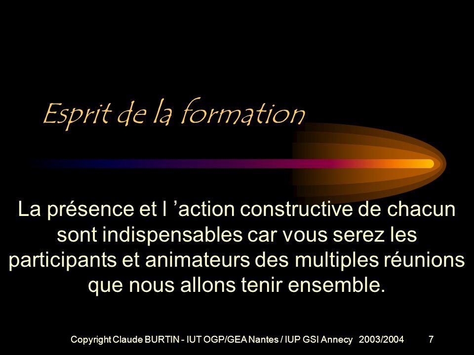 Copyright Claude BURTIN - IUT OGP/GEA Nantes / IUP GSI Annecy 2003/20046 Que comporte cette formation ? POURQUOI, COMMENT ? Esprit de cette formation
