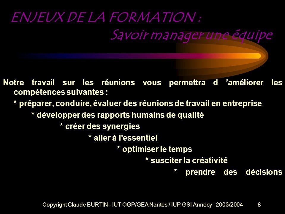 Copyright Claude BURTIN - IUT OGP/GEA Nantes / IUP GSI Annecy 2003/20047 Esprit de la formation La présence et l action constructive de chacun sont in
