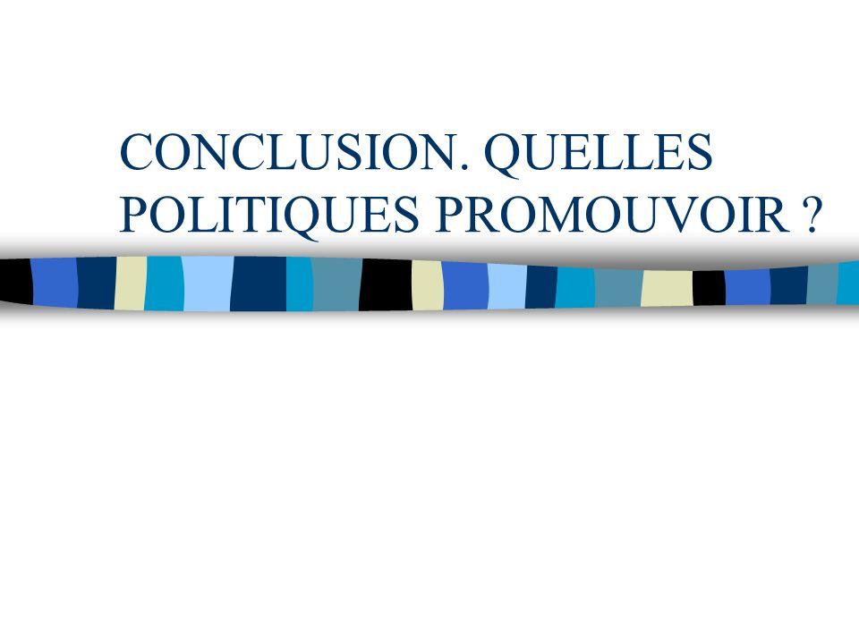 CONCLUSION. QUELLES POLITIQUES PROMOUVOIR ?