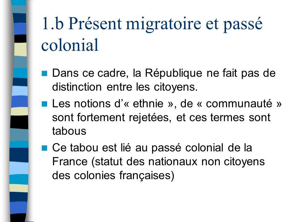 1.b Présent migratoire et passé colonial Dans ce cadre, la République ne fait pas de distinction entre les citoyens. Les notions d« ethnie », de « com