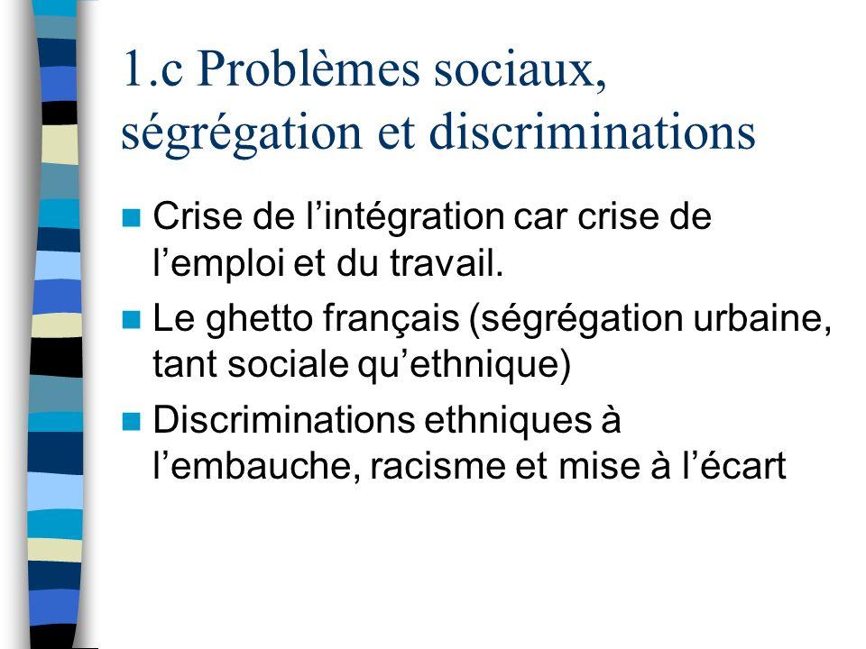 1.c Problèmes sociaux, ségrégation et discriminations Crise de lintégration car crise de lemploi et du travail. Le ghetto français (ségrégation urbain