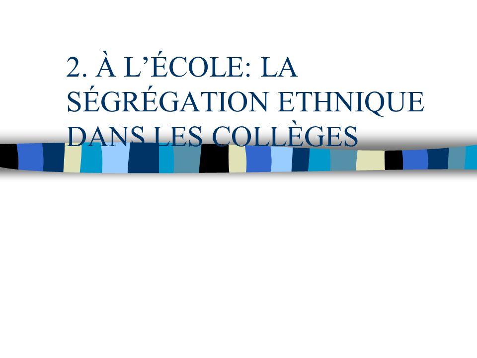 2. À LÉCOLE: LA SÉGRÉGATION ETHNIQUE DANS LES COLLÈGES