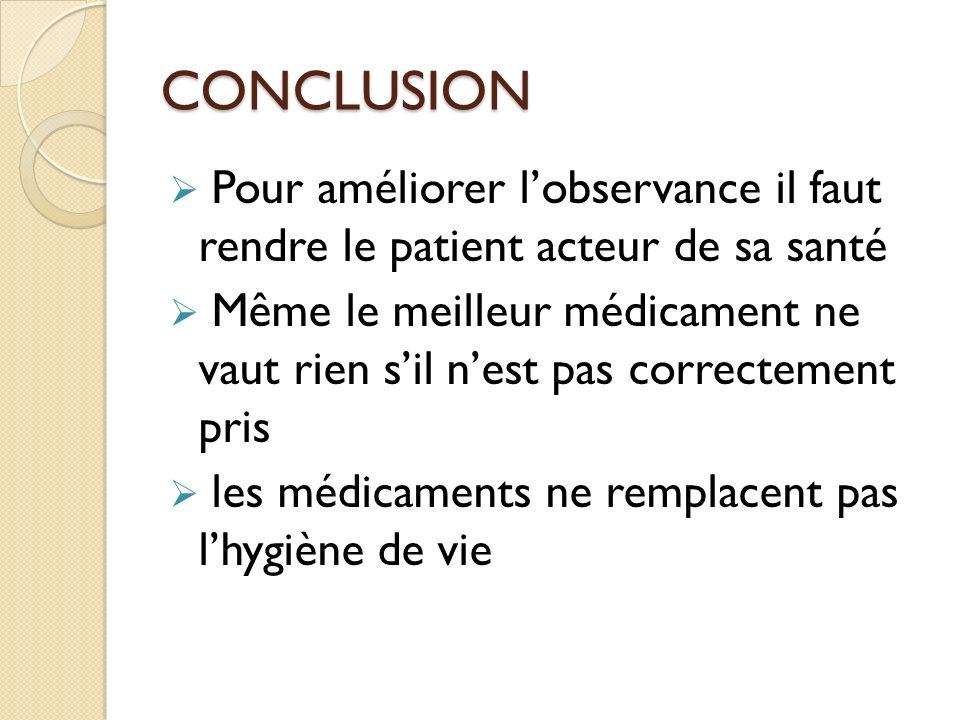 CONCLUSION Pour améliorer lobservance il faut rendre le patient acteur de sa santé Même le meilleur médicament ne vaut rien sil nest pas correctement