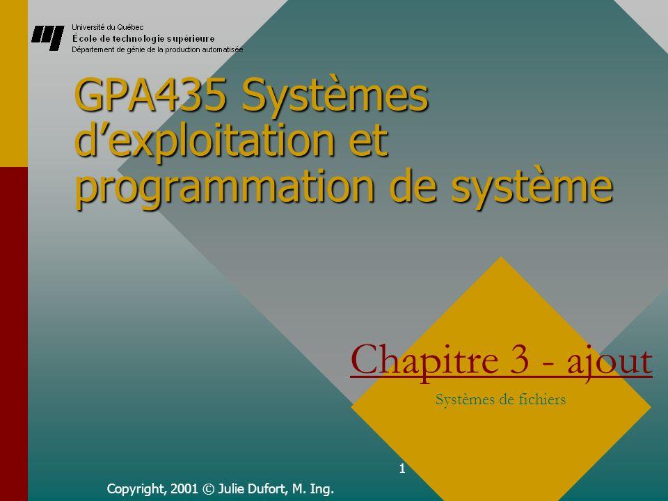 1 GPA435 Systèmes dexploitation et programmation de système Copyright, 2001 © Julie Dufort, M.