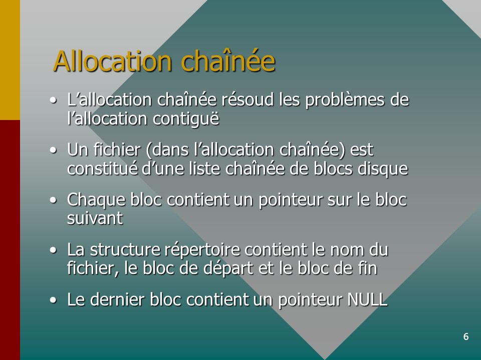 6 Allocation chaînée Lallocation chaînée résoud les problèmes de lallocation contiguëLallocation chaînée résoud les problèmes de lallocation contiguë Un fichier (dans lallocation chaînée) est constitué dune liste chaînée de blocs disqueUn fichier (dans lallocation chaînée) est constitué dune liste chaînée de blocs disque Chaque bloc contient un pointeur sur le bloc suivantChaque bloc contient un pointeur sur le bloc suivant La structure répertoire contient le nom du fichier, le bloc de départ et le bloc de finLa structure répertoire contient le nom du fichier, le bloc de départ et le bloc de fin Le dernier bloc contient un pointeur NULLLe dernier bloc contient un pointeur NULL