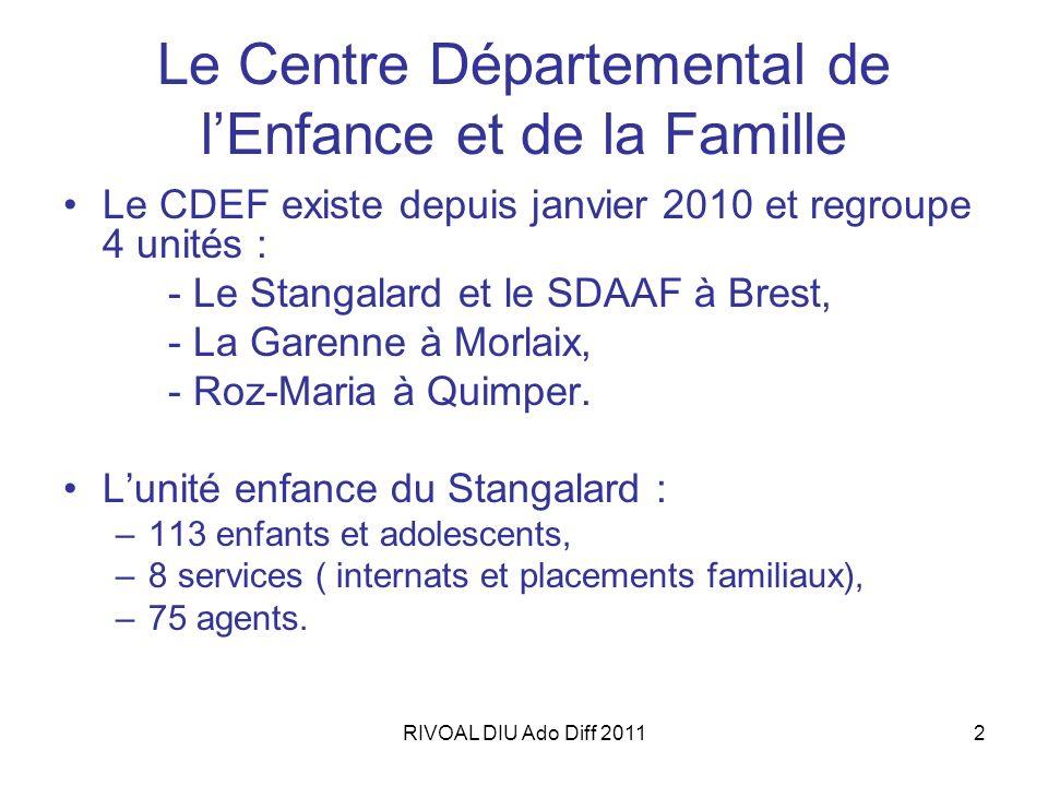 2 Le Centre Départemental de lEnfance et de la Famille Le CDEF existe depuis janvier 2010 et regroupe 4 unités : - Le Stangalard et le SDAAF à Brest,