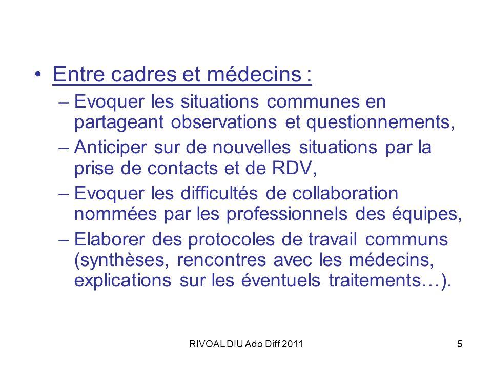 RIVOAL DIU Ado Diff 20115 Entre cadres et médecins : –Evoquer les situations communes en partageant observations et questionnements, –Anticiper sur de