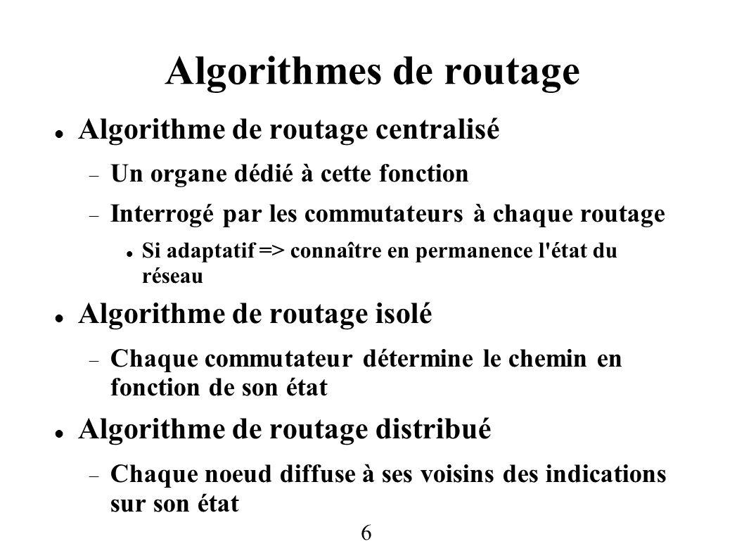 Algorithmes de routage 6 Algorithme de routage centralisé Un organe dédié à cette fonction Interrogé par les commutateurs à chaque routage Si adaptati